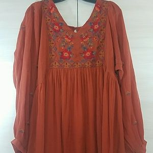 Umgee Boho Dress Dark Rust Orange